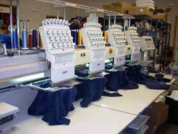 Embroidery machines in action at Embroidery Plus